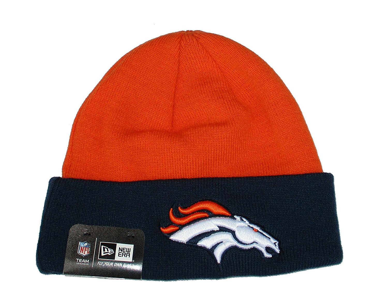 546caea92a7 Get Quotations · Denver Broncos New Era Knit Cuff Beanie Hat Cap -Team  Colors