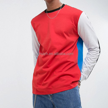 Men'S Cut And Sew Streetwear Oversized 100% Combed Cotton Blank Color Block T Shirt