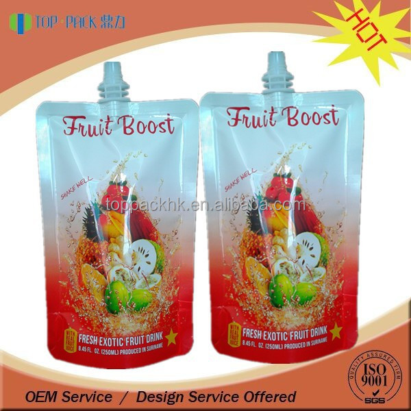 Custom printed stand up drink water fruit juice packaging bag with spout