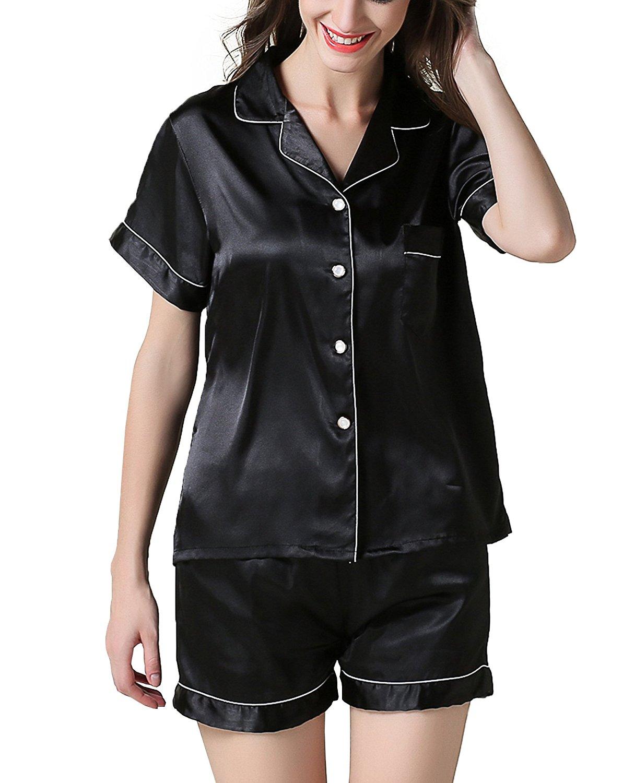 9ce5900903 Get Quotations · SWOMOG Womens Sleepwear Short Sleeve Pajama Set Nighty PJ  Shorts Notch Collar