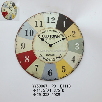 Old Town Metal Wall Clock Round