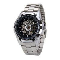 WINN 246 Winner promotional Full Stainless Steel Watch Men Skeleton Auto Mechanical custom LOGO Watch Self-Wind Male Dress Clock