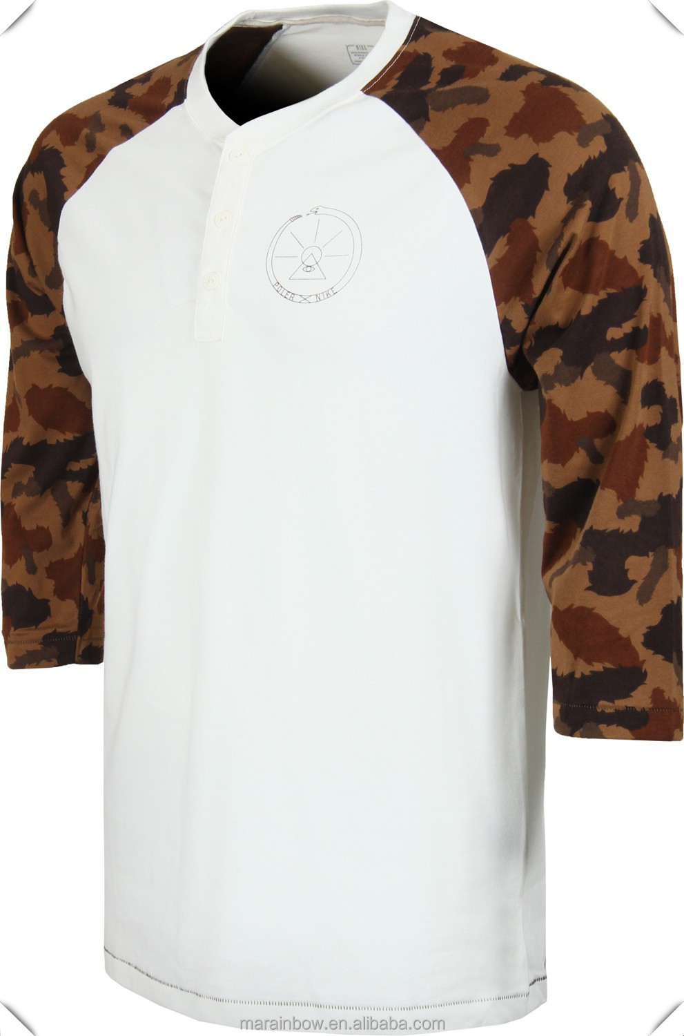 men's sublimation printing camo raglan sleeves t shirts with placket, most hotsale fashion design in USA market