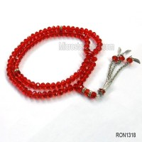 2015 Latest on the market 99pcs red color electroplate glass beads wholesale tasbih necklace