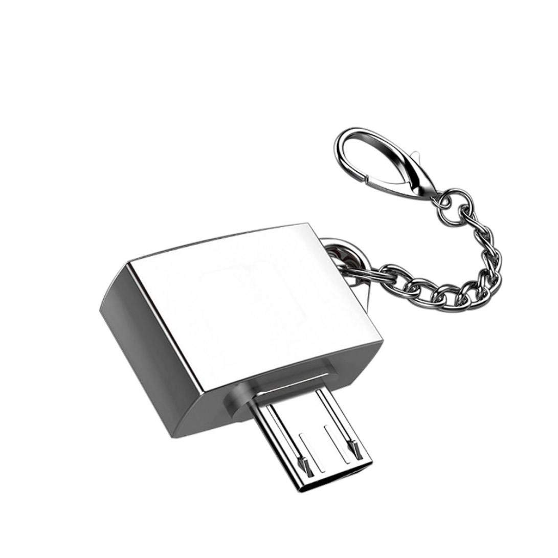 Micro USB to USB, Micro USB 2.0 OTG Cable Adapter Micro USB Male to USB Female OTG Converter Adapter With Key Chain (Silver)