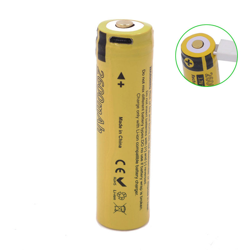3.7V 18650 9.6WH 2600mAh Rechargeable Li-ion Battery IC Protection with USB direct charging function