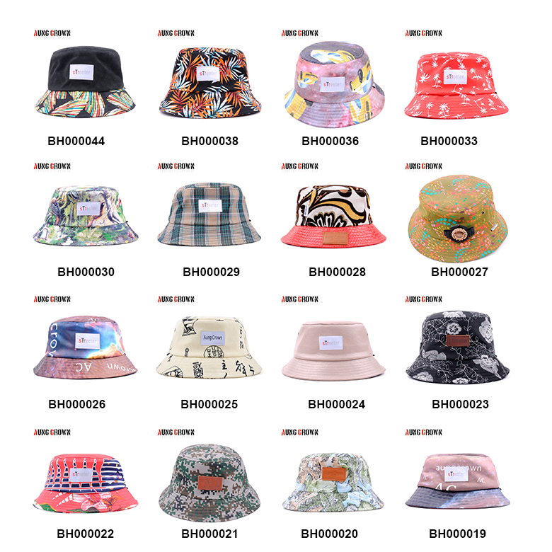 Wholesale Custom Cotton Twill Bucket Hat , printed leaves logo fisherman hat