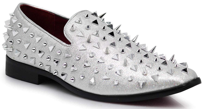 Enzo Romeo SPK09 Men's Vintage Spike Dress Loafers Slip On Fashion Shoes Classic Tuxedo Dress Shoes