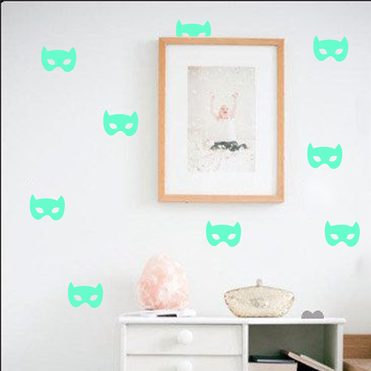 Spiderman mask glow in the dark wall stickers diy decorative wall art home decor shiny fluorescent custom wall sticker murals