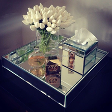 Hot sale silver mirror perfume tray with metal handle
