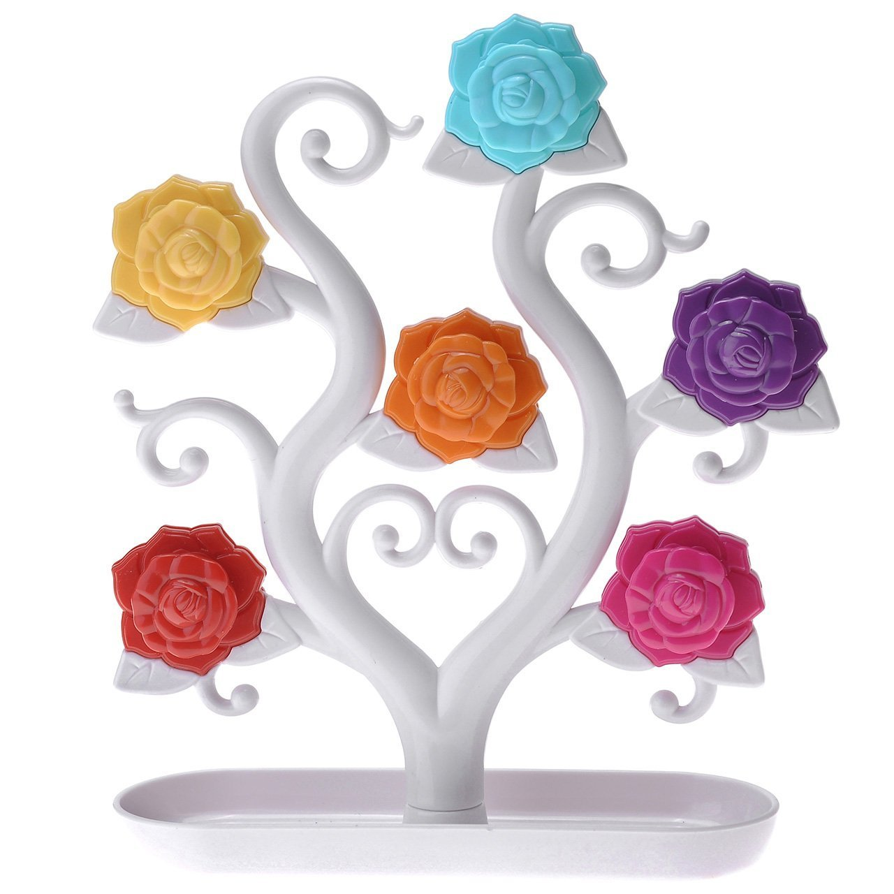 Yoption Jewelry Rack, Creative Magnetic Rose Tree Plastic Jewelry Storage Rack Display Stand Holder Organizer for Earrings Necklace Ring (White)
