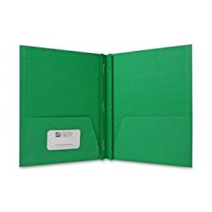 Sparco Two Pocket Report Covers With Fasteners - Letter - 8.50quot; x 11quot; - 2 Pockets - 3 - 100 Sheet - 0.50quot; Capacity - Embossed Paper - Green - 25 / Box