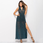 Factory Dropshipping Backless Split Clothing Women Sexy Long Maxi Halter Neck Design Ladies Dresses