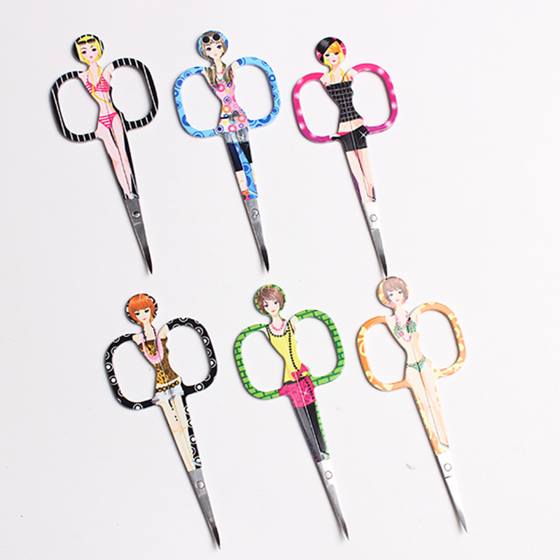 Professional Stainless Steel Girls Print Beauty Scissors Lady Women Beauty Scissors