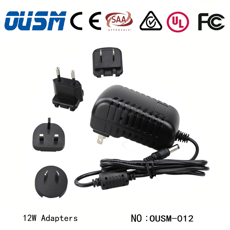 ShenZhen Factory Price International Power Adapter with USA EU UK AU Detachable Interchangeable Plugs for Router Printer