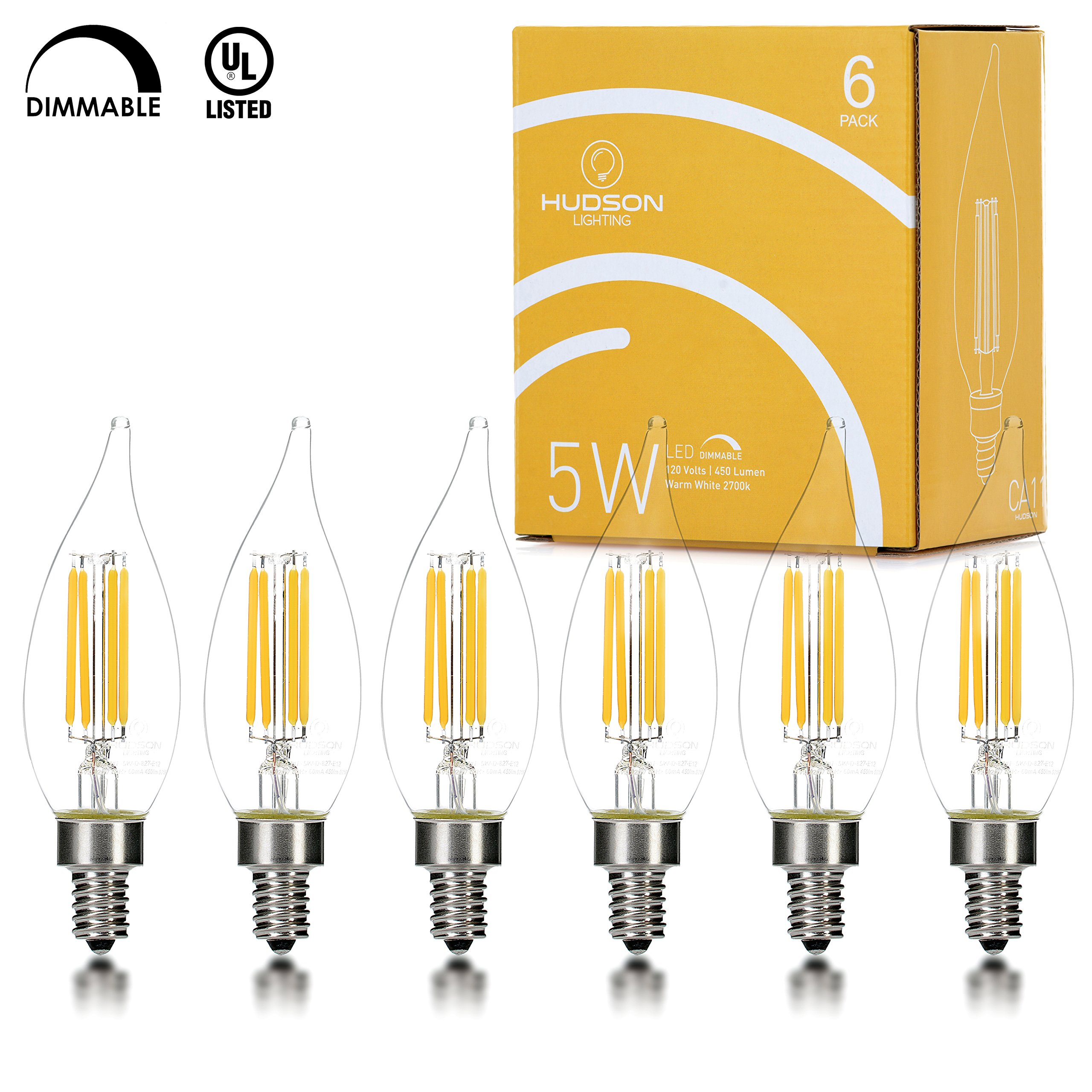 Hudson Lighting Dimmable Flame Tip Candelabra LED Bulbs - UL Listed - 2 Year Warranty - 4 Watt - 400 Lumen - E12 Led Bulb Base - 2700K - Indoor or Outdoor Led Candelabra Bulb - 6 Pack