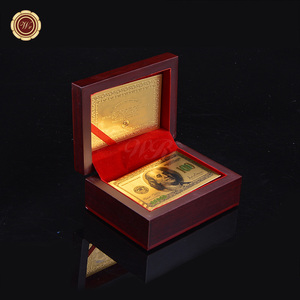 WR 24K Carat Gold Foil Plated Poker Game USD 100 Printed Playing Cards Gift Delicate Wooden Box Collection +Certificate