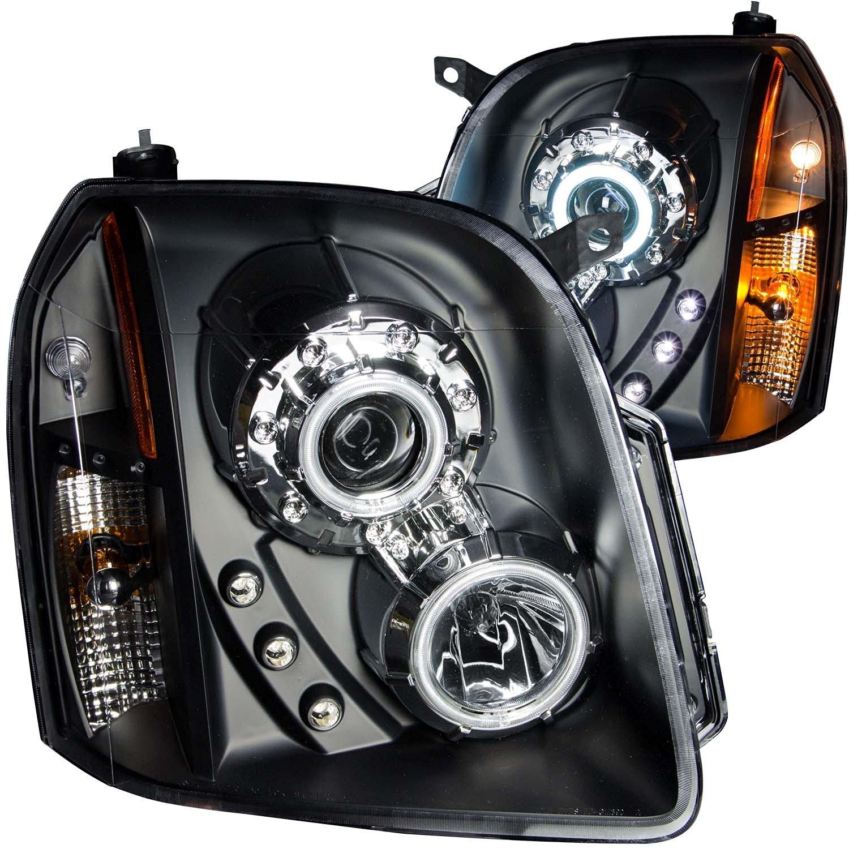 FRONT HEADLIGHT GMC Yukon, GMC Yukon Denali, GMC Yukon Xl / XL1500/2500 / DENALI / XL1500/2500 DENALI 2013 PROJECTOR HALO BLACK CLEAR AMBER (CCFL) (with FAKE LED)