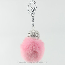 New Design Custom Faux Rabbit Fur Pom Pom Ball Keychain with Crystal Decorated for Girls' Gift Bag accessories Car Pendant