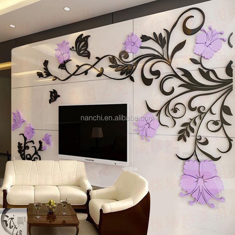 3d acrylic creative flower vine wall stickers living room tv