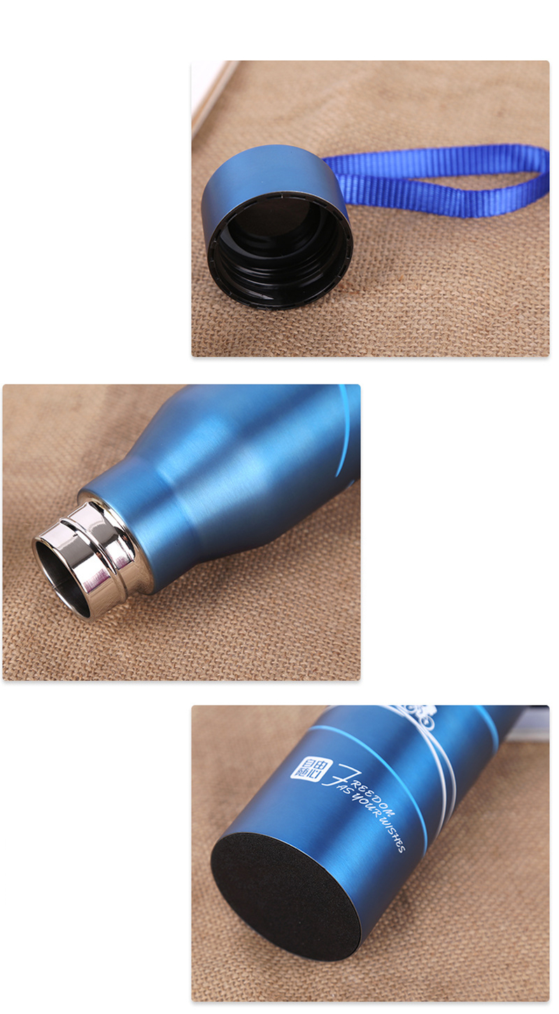 Hand-held rope sports water bottle 18 8 high grade stainless steel vacuum flask