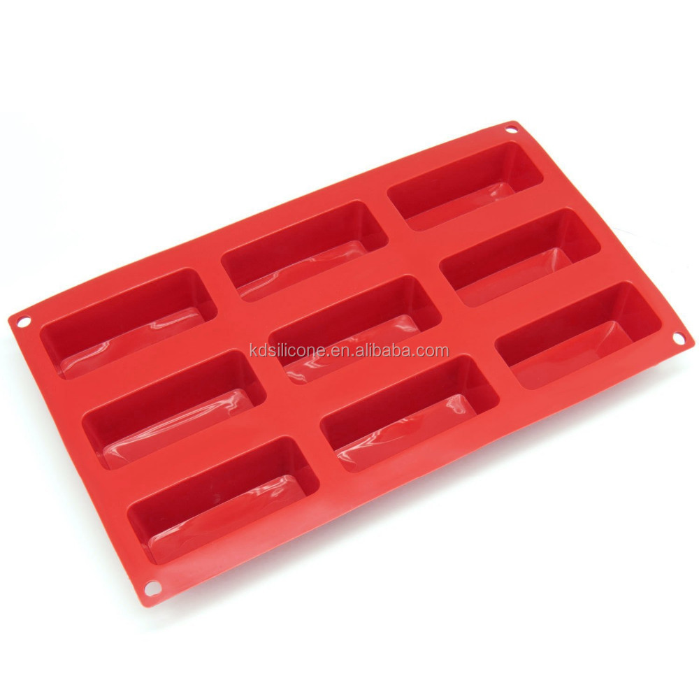 Newest Popular!! 9-Cavity Narrow Loaf Silicone Mold and Baking Pan, 9 Loaves Silicone Petite Loaf Pan,Small Silicone Loaf Pan