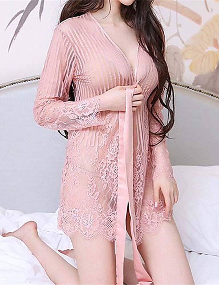WWQY Women's Ultra Sexy Nightwear,Sexy Lace Embroidery-Thin Translucent Spandex , blushing pink , one-size