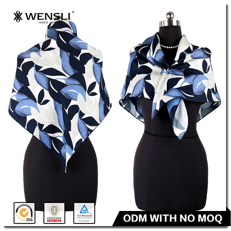 Buy Direct From China Factory Silk Fabric Digital Print Wensli Square Silk Twill Scarf