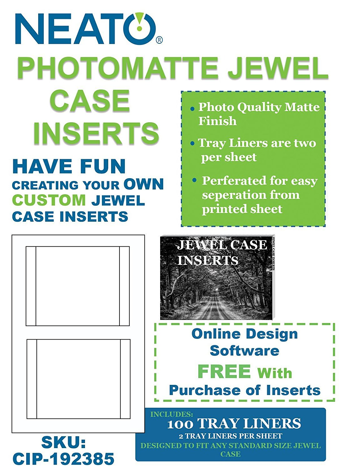 Neato PhotoMatte Jewel Case Inserts, 100 Tray Liners, CIP-192385 - Online Design Access Code Included