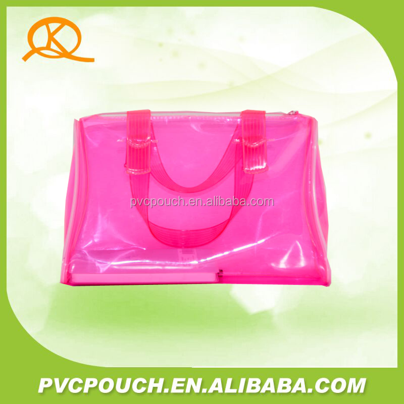 China supplier top quality clear pvc plastic pink hand bags