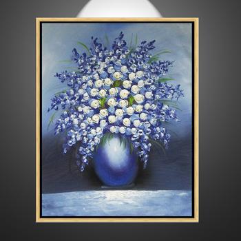 blue knife flower vase frame oil painting on canvas & Blue Knife Flower Vase Frame Oil Painting On Canvas - Buy Blue ...