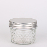 Wide Mouth Ball Quilted Glass Mason Jars Silver Lids Canning 4 oz Jar