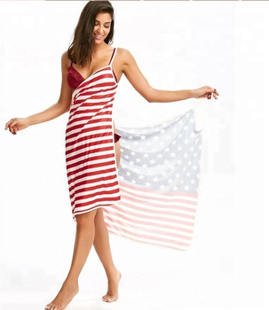 Frauen Spaghetti Strap Backless Bikini Vertuschen USA Flagge Strand Kleid