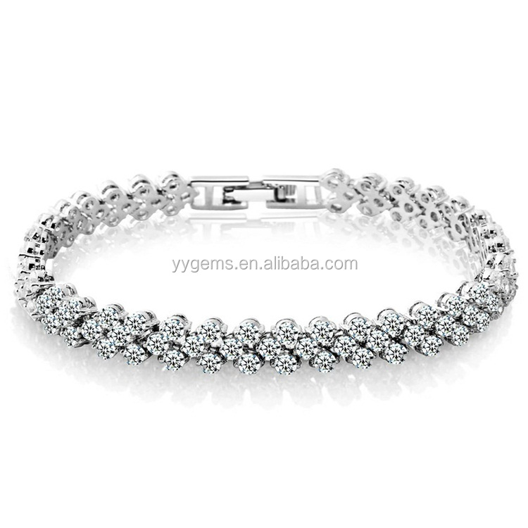 White Gold Plated Alloy CZ Cubic Zirconia Charm Tennis Beaded Bracelets Women's Jewelry