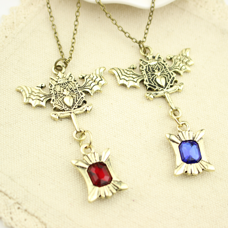 Anime Charm Jewelry Black Butler Sebastian Michaelis Blue and Red Fashion Crystal Necklace