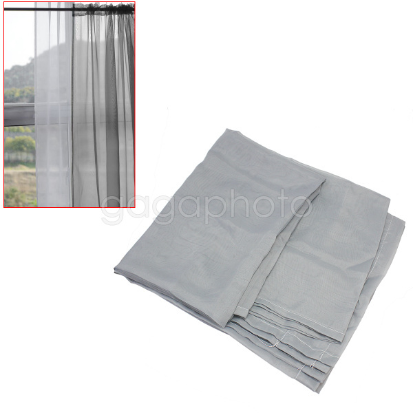 New Window Treatment Home Room Decorative Sheer Voile Panels Curtain Drape Grey