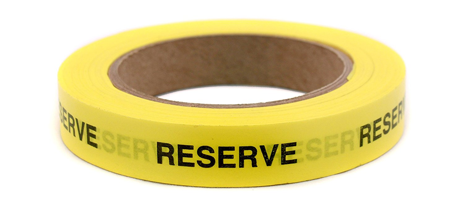 """RESERVE"" Continuously Imprinted, Removable-Adhesive Yellow Tape with Black Imprint 