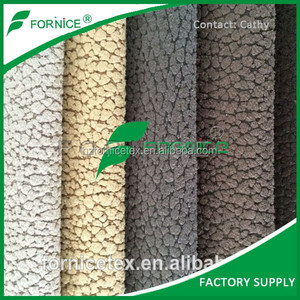 Factory Supply Spain 100%polyester 320gsm suede embosed bonded white brush sofa upholstery fabric