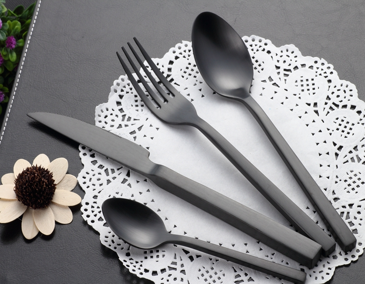 Food grade black cutlery set stainless steel, star hotels matte black flatware фото
