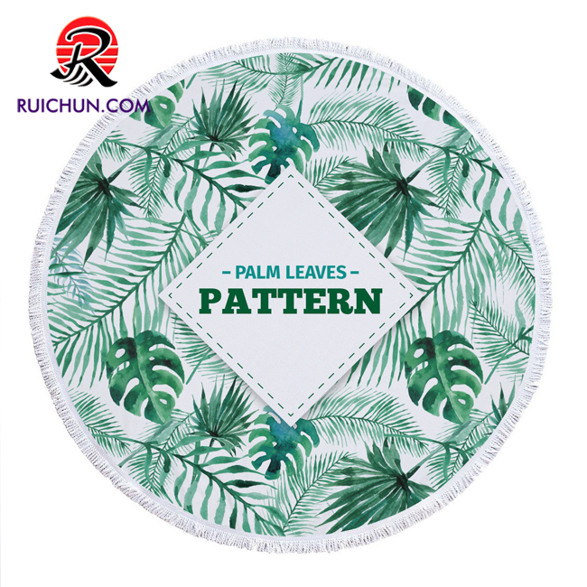 hot sale microfiber printed pattern round beach <strong>towel</strong> with tassels