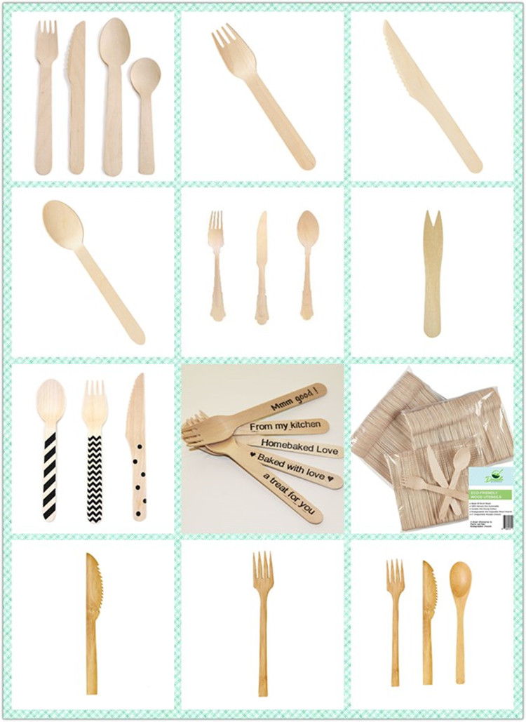 Factory wholesale wooden spoon/forks/knives with hot stamp logo