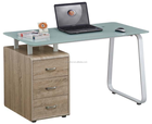 High quality Fashion glass wooden computer desk table with drawers