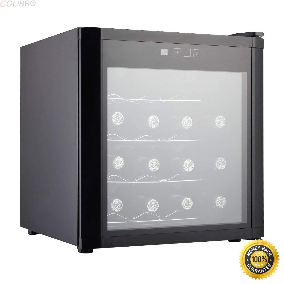 COLIBROX--New 16 Bottles Wine Cooler Fridge Cellar Storage Holder Chiller Bar Rack Cabinet,best buy wine coolers,best wine refrigerators,Energy-Efficient 16 Bottles Semi-Conductor Wine Cooler