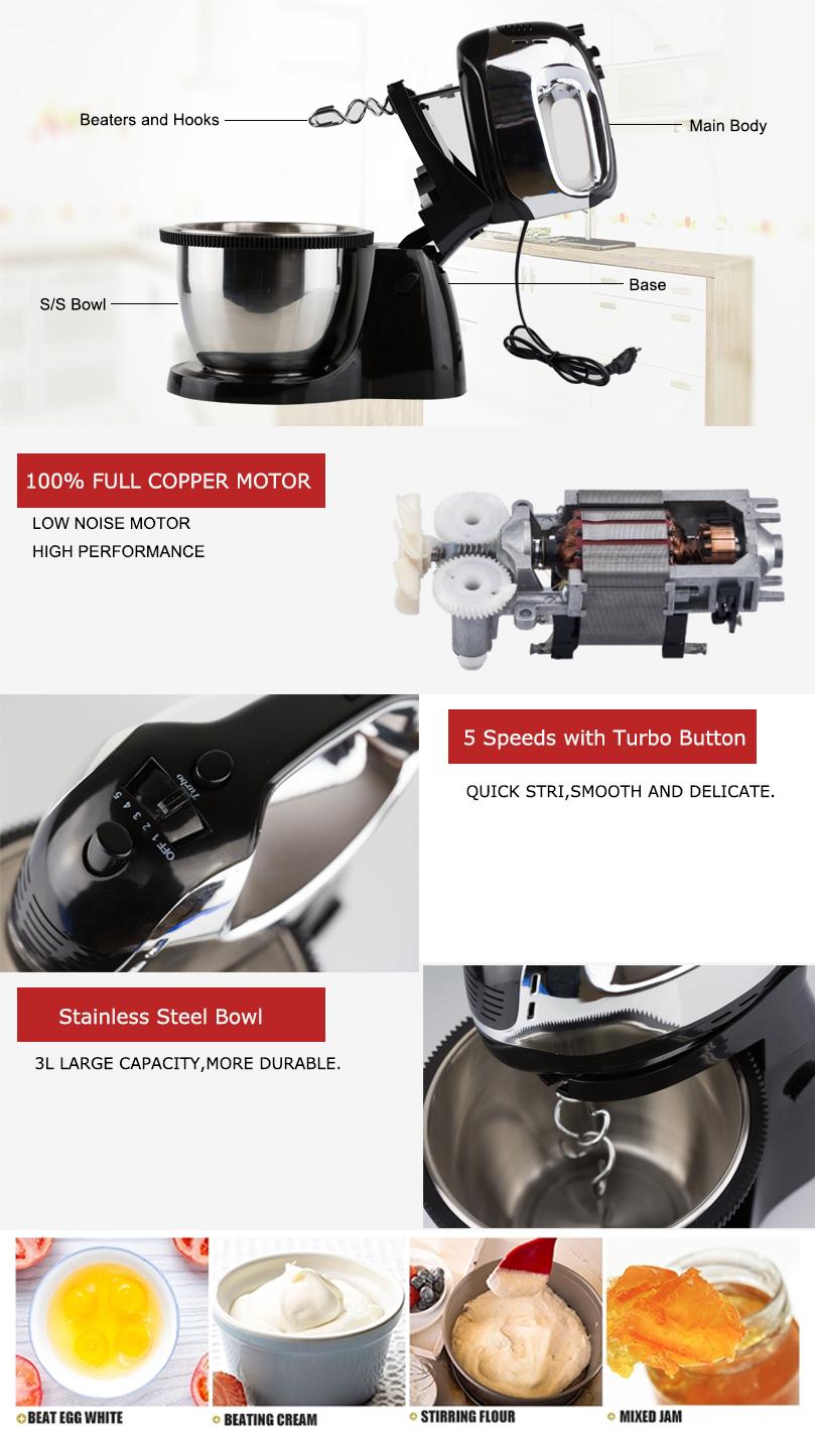 2019 Baru Teknologi 5 Kecepatan Kue Stand Mixer dengan 3L Berputar Mangkuk