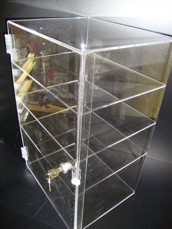 "LuciteDisplay Acrylic Lucite Showcase Jewelry Pastry Bakery Counter Display W/door & Lock (12"" x 9 1/2"" x 19""H)"