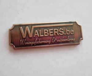 engraved metal brand logo plate custom zinc alloy brass copper furniture labels