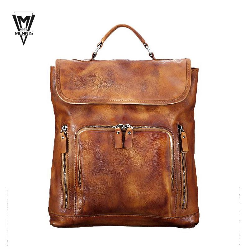 689f46230e Get Quotations · 100% Genuine Leather Vintage Cow Top Men Layer Cowhide  Women s Backpack Tote Bag Retro Brown