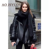 High fashion womens polyester long sleeved thick faux fur lining winter coat with fur collar