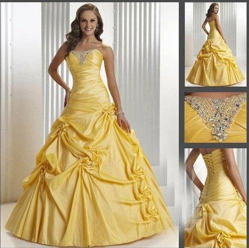 Wholesale Formal Yellow Wedding Dresses Beading Bridal