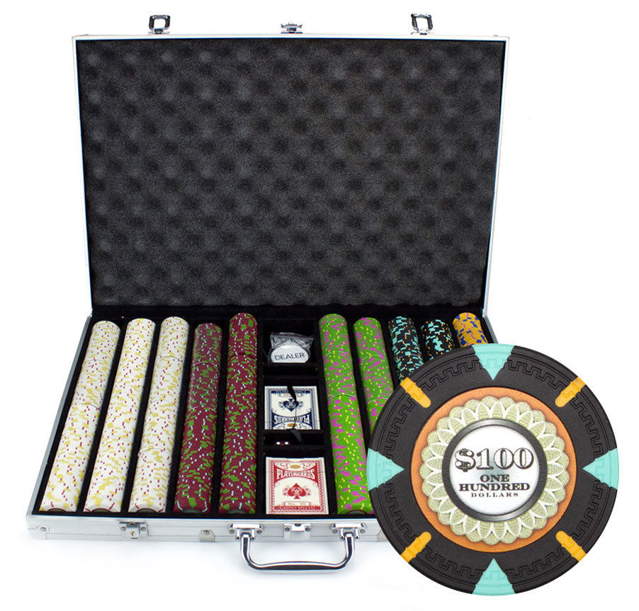 NIEUWE 1000 De Mint 13.5 gram Clay Poker Chips Aluminium Case Set